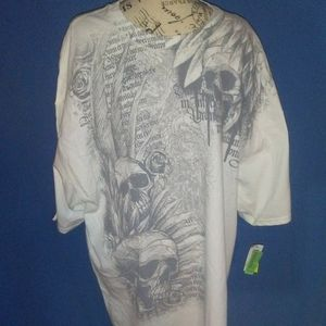 Men's 2XL Skull Graphic White Tee